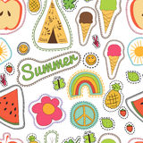 Happy embroidery colorful summer patches pattern.. Hippie embroidery colorful summer patches pattern. Vector seamless pattern with pineapple, watermelon, ice Stock Images