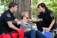 Happy Emergencial Medical Assessment Stock Images