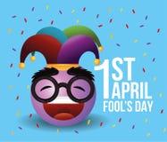 Happy emoji with joker hat to fools day. Vector illustration stock illustration