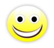 Happy emoticon. Illustration of smiling yellow emoticon isolated on white background vector illustration