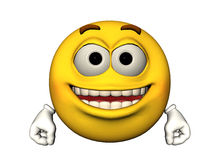 Happy emoticon. 3D illustration of a happy emoticon Royalty Free Stock Photos