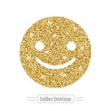 Happy emoticon by golden glitter. Face with smile, icon. Vector Royalty Free Stock Photo