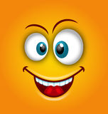 Happy Emoticon with Open Mouth and Smiling, Stock Image