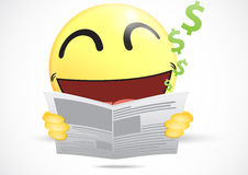 Happy Emoticon reading a business newspaper Royalty Free Stock Photos