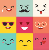 Happy emoticons vector pattern. Positive moji set Stock Images