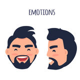 Happy Emotion. Face from Different Angles Vector. Men Emotions. Man with beard and pink cheeks laughing with open mouth. Face from two different angles of view Royalty Free Stock Photography