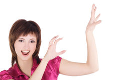 Happy emotional young girl with her hands up. Over white Stock Photography