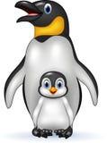 Happy emperor penguin with baby Stock Photos