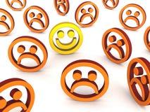 Happy employee amongst sad ones Royalty Free Stock Photography