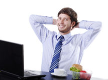 Happy employee in company Stock Images