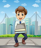 A happy employee crossing the street with a lot of documents in Royalty Free Stock Photo