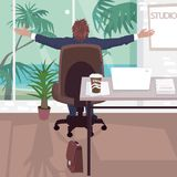 Happy employee in office near tropical beach. Businessman stretches while sitting on chair near panoramic window in business center. Simplified realistic Stock Images