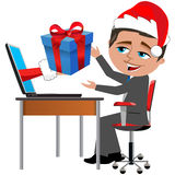 Happy Employee Receiving Gift Christmas Office Desk Stock Images