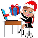 Happy Employee Receiving Gift Christmas Office Desk Royalty Free Stock Image