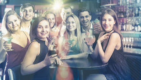 Happy employees dancing on corporate party Royalty Free Stock Photo