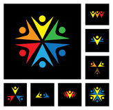 Happy employees & executives unity & diversity vector icon set vector illustration