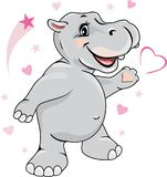 Happy enamored hippo Stock Photos