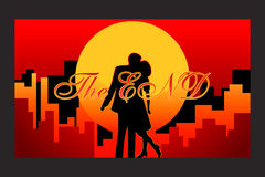 Happy end movie. Final frame of the love story with happy end in vector Stock Photo