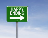 Happy Ending. Modified one way sign indicating Happy Ending Stock Images