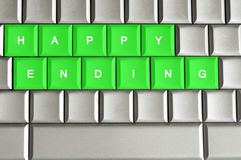 Happy ending spelled on a metallic keyboard. Happy ending spelled on a silver metallic keyboard Stock Images