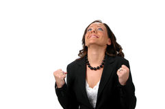 Happy energetic business woman Stock Photo