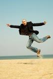 Happy energetic businessman Stock Photos
