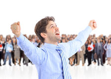 Happy energetic businessman Stock Photo