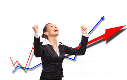 Happy energetic businesswoman Stock Photo