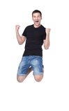 Happy energetic man on the white background Royalty Free Stock Photography