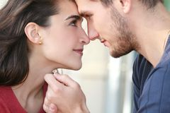 Happy Engaged Couple in Love Stock Image