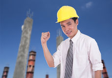 Happy engineer with arm raised, concept of successful, construct Stock Image