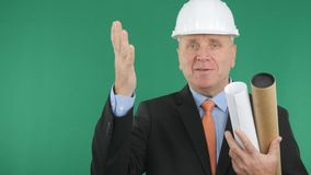 Happy Engineer Make a Welcome Hand Gestures stock photos