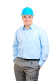Happy Engineer With Blue Hard Hat Stock Photos