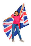 Happy English learner proudly hold big UK banner Royalty Free Stock Photography
