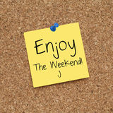 Happy Enjoy The Weekend Note Royalty Free Stock Photos
