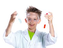 Young enthusiastic Chemist. Happy enthusiastic Chemist boy with chemical test tubes and microscope. Isolated on a white background Royalty Free Stock Photos