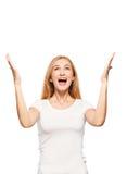 Happy enthusiastic woman on white Royalty Free Stock Photos