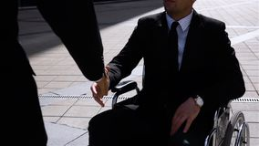 Happy Entrepreneur Shaking Hands With Colleague Businessman Outdoor stock video