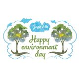 Happy environment day. 5 june. watercolor trees and cloud. Lovely postcard with watercolors and a blue cloud for World Environment Day on June 5. Illustration on royalty free illustration