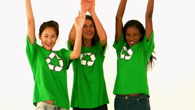 Happy environmental activist cheering stock video