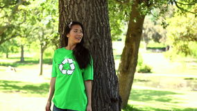 Happy environmental activist enjoying nature stock footage