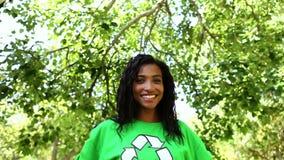 Happy environmental activist smiling at camera stock video footage