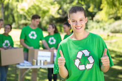 Happy environmental activists in the park Royalty Free Stock Photo