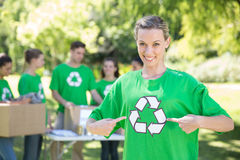 Happy environmental activists in the park Stock Photos