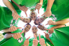 Happy environmental activists in the park Royalty Free Stock Images