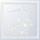 Happy Esater paper card with rabbit Royalty Free Stock Photography
