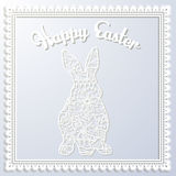 Happy Esater paper card with rabbit Royalty Free Stock Images