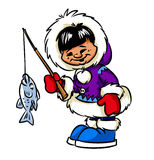 Happy Eskimo boy and fish Royalty Free Stock Photos