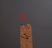 Happy etnic finger couple concept. Fingers hugging and showing love isolated on gray background. Fingers represening a loving etnic couple Royalty Free Stock Photos
