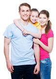 Happy european family with child. Portrait of the happy european family with child - isolated on white background stock photo